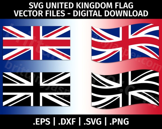 United Kingdom Flag SVG Vector Clip Art Cutting Files For
