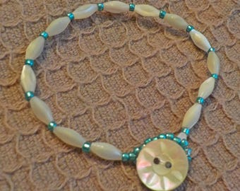 Toggle Bracelet With Vintage Abalone Beads And Vintage Abalone Button