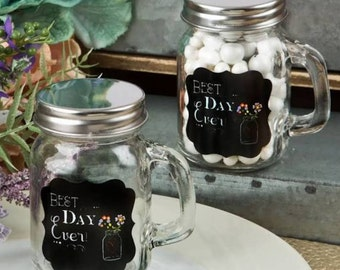 Mason Jar glass with handle - Best Day Ever Mug Favors