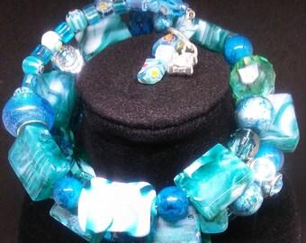 Turquoise and aquamarine bracelet