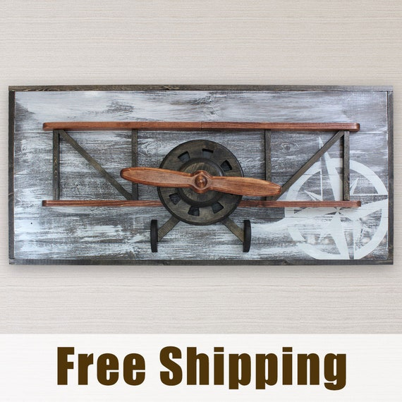 Airplane Decor Biplane Wall Art Masculine Decor Vintage | Etsy