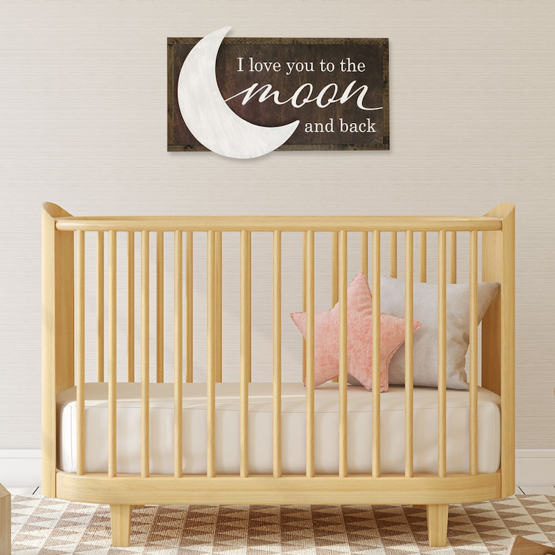 Farmhouse Nursery Decor Baby Shower Gift Love you to the Moon and Back Rustic Sign Nursery Quote Sign Framed Nursery Sign