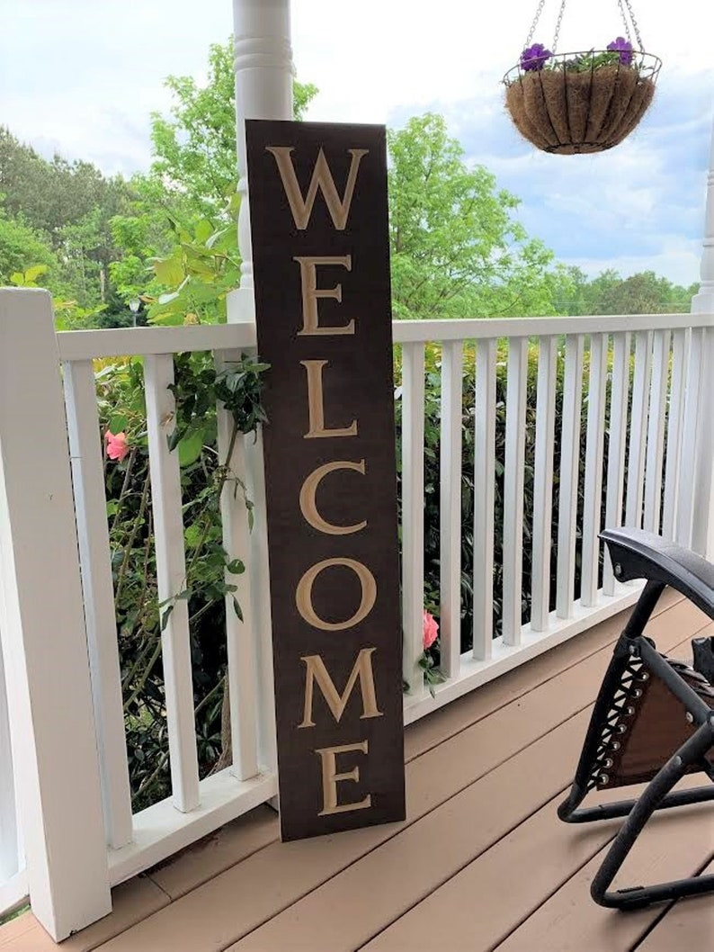 Wooden Welcome Sign Tall