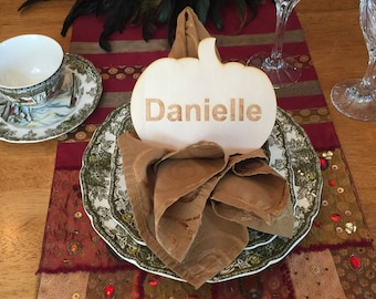 Unfinished, Pumpkin Shaped Place Card, Personalized, Engraved