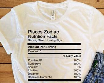 15e95aaf91b5b9 Pisces Zodiac Nutrition Facts Unisex Tee Women s Clothing Women s Tee Men s  Clothing Men s Tee Astrology Zodiac Signs Birthday Tees