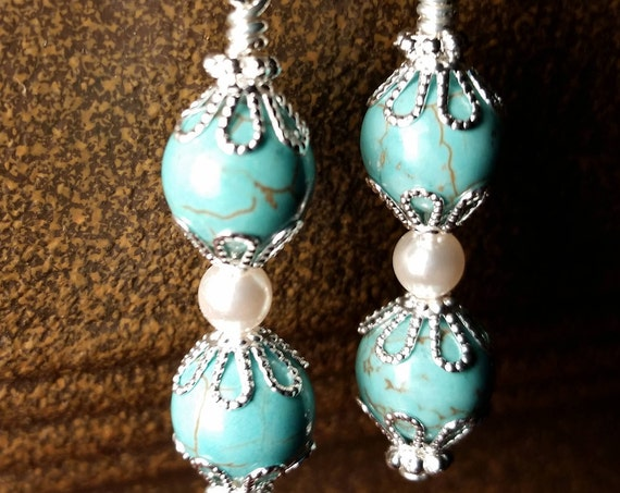 Turquoise and pearl drop dangle silver plated wire handmade earrings