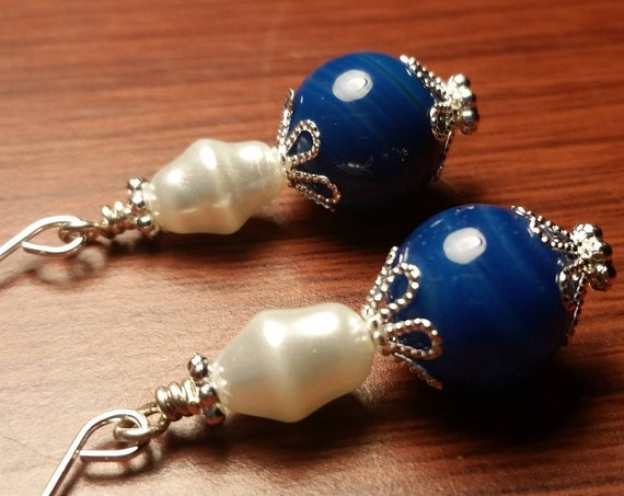 Blue Agate Silver Capped White Glass Rice Pearl Drop Dangle Handmade Silver Plated Wire