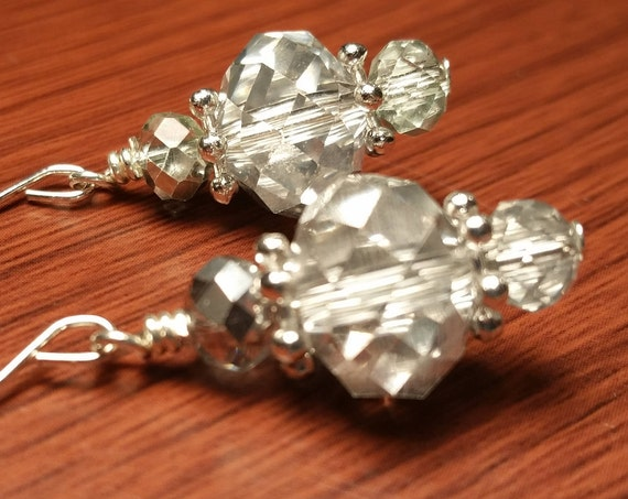 Silver crystals  glass beads Silver Wire Drop Dangle handmade earrings