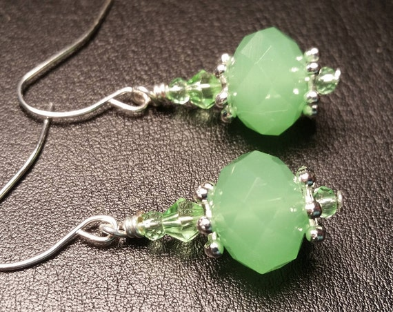 Frosted Green Glass Crystal Drop Dangle Handmade Silver Wire Earrings