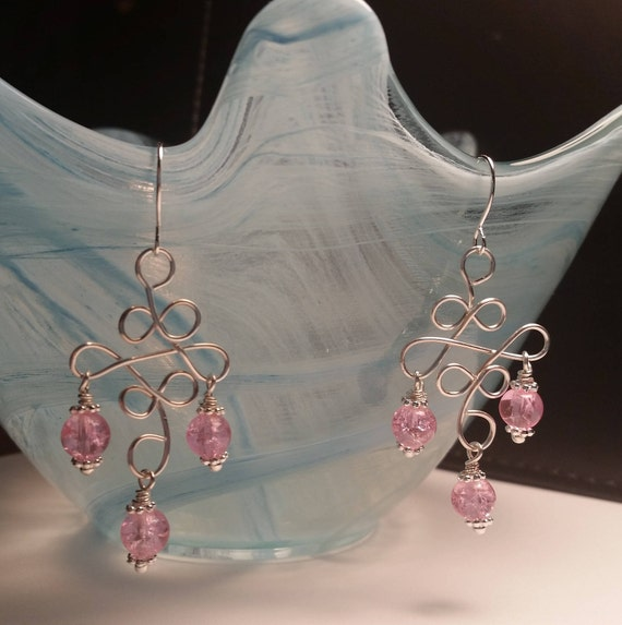 Pink Crackle Glass Bead Chandelier Drop Handmade Dangle Silver Plated Wire Wrapped Earrings