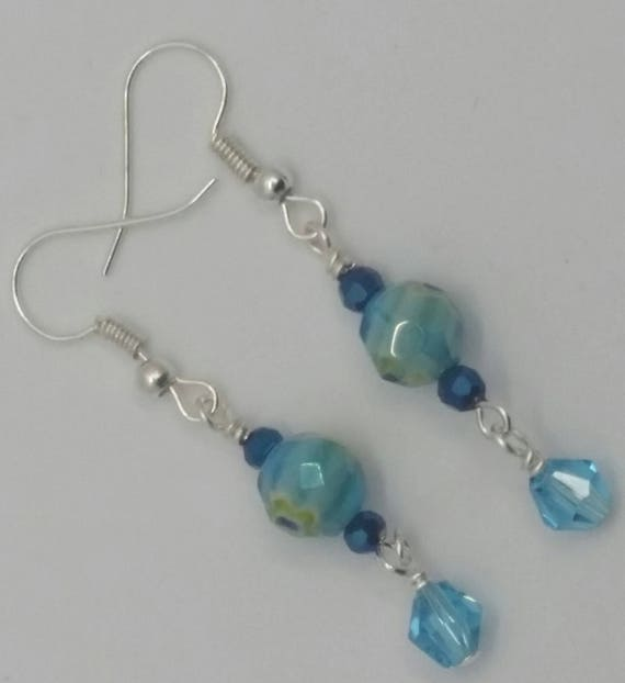 Blue Glass Flower with Light Blue Crystal  Drop Dangle Silver Wire Handmade Earrings