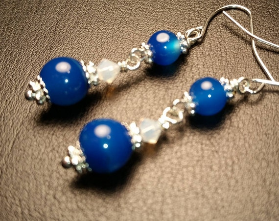 Blue Agate and Frosted Crystal Glass Bead Drop Dangle Silver Handmade Wire Wrapped Earrings
