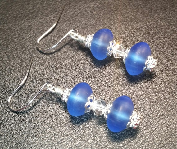 Blue Glass Bead and Crystal Drop Dangle Silver Wire Earrings