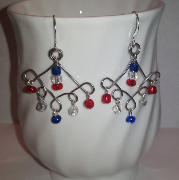 Red White and Blue Chandelier Wire Dangle Drop Earrings