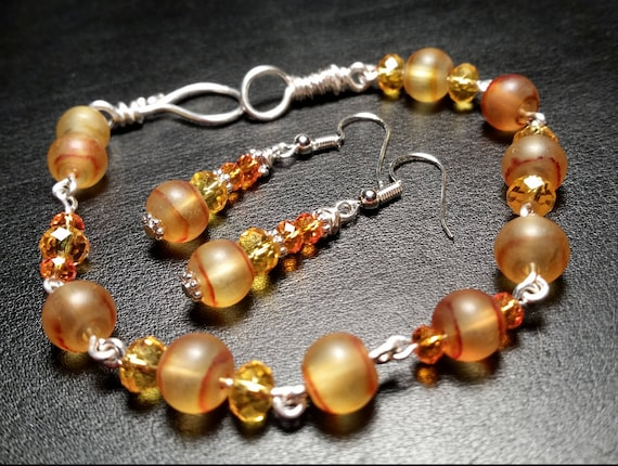 Yellow and Orange Glass Bead Bracelet and Dangle Drop Wire Earring Set