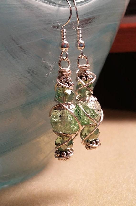 Green Crackle Glass with Black Swirl Dangle