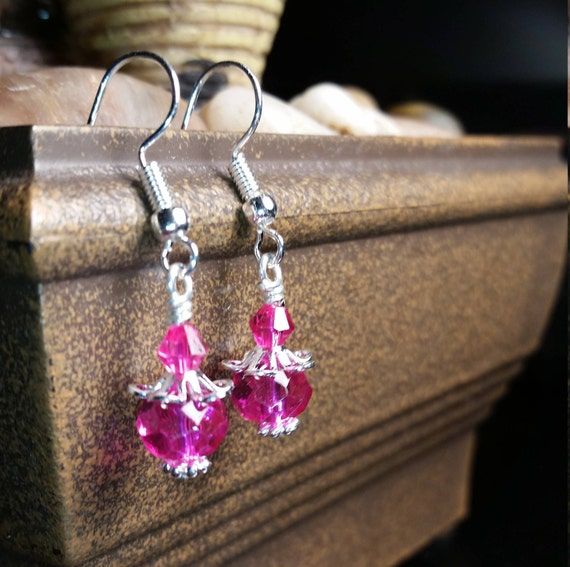 Hot Pink Glass Bead and Crystal Drop Dangle Silver Wire Earrings