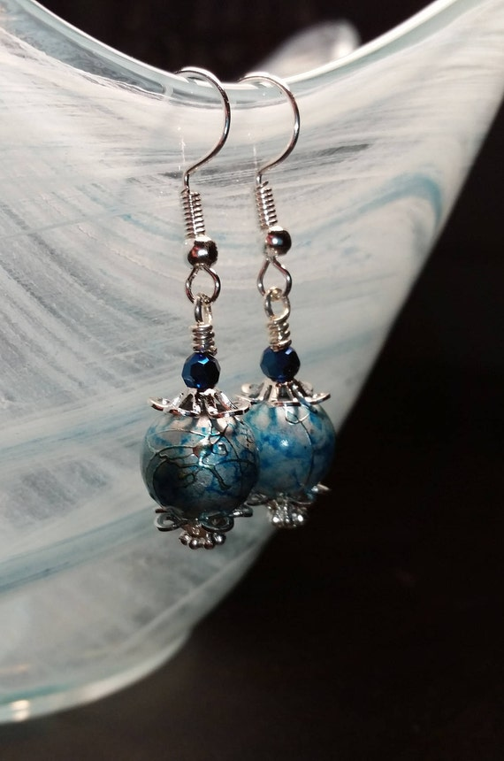 Blue Swirly Marble Glass Drop Dangle Earrings