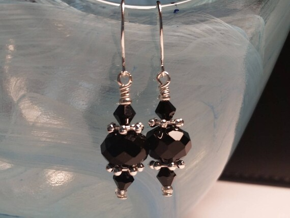 Black Glass Crystal Bead Drop Silver Wire Handmade Dangle Earrings