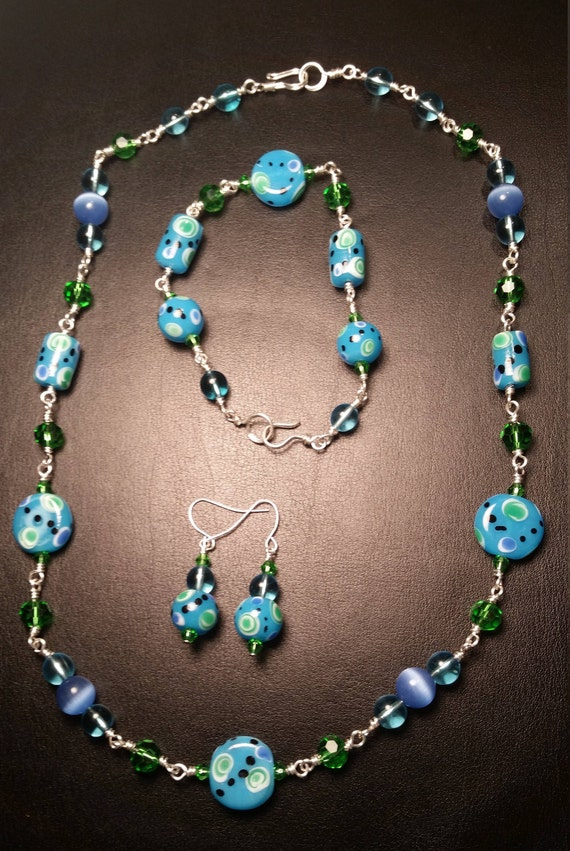 Blue and Green Glass Bead and Crystal Necklace Bracelet and Earring Set Drop Dangle Silver Plated Wire Wrapped Set