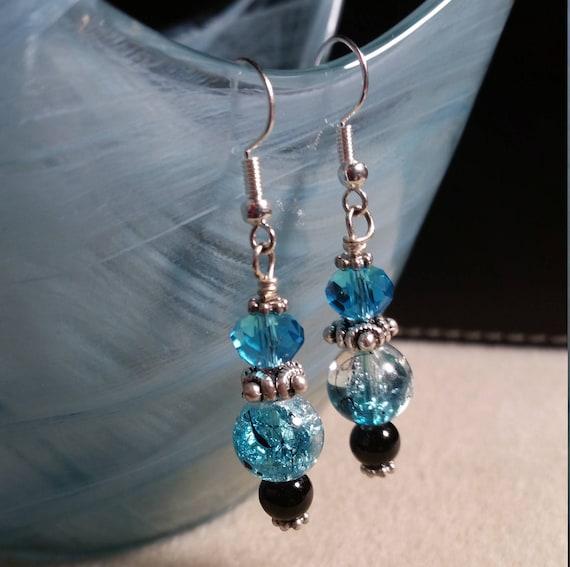 Crackle Blue Dangle Earrings