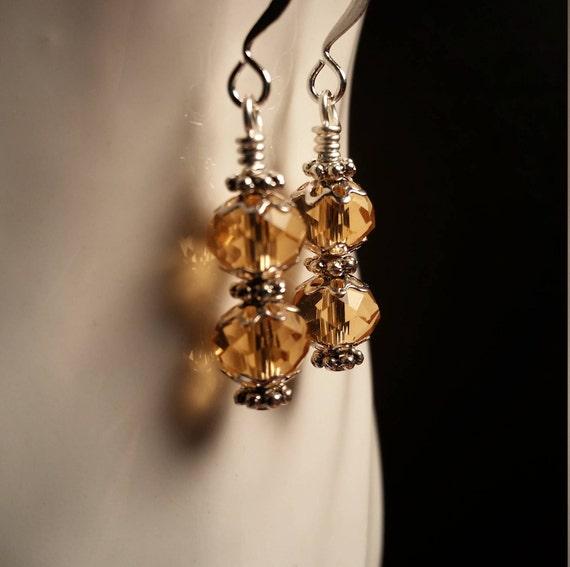 Gold Crystal Glass Drop Wire Dangle Earrings