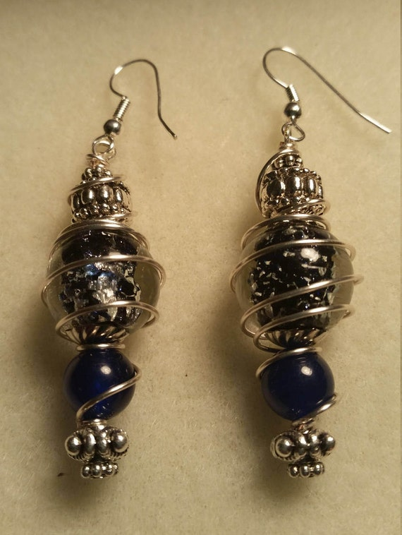 Clear crackle bead with Navy blue center Drop Dangle Handmade quality sliver plated wire earrings