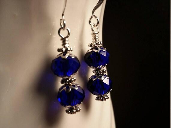 Blue Crystal Glass Bead Drop Dangle Wire Earrings