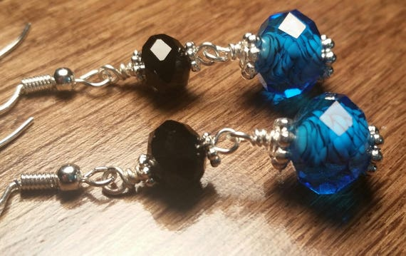 Black Swirl and Blue Silver Wire Drop Dangle Handmade Earrings