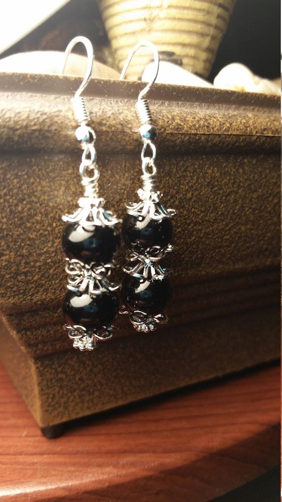 Black Glass Bead Drop Dangle Silver Capped Earrings
