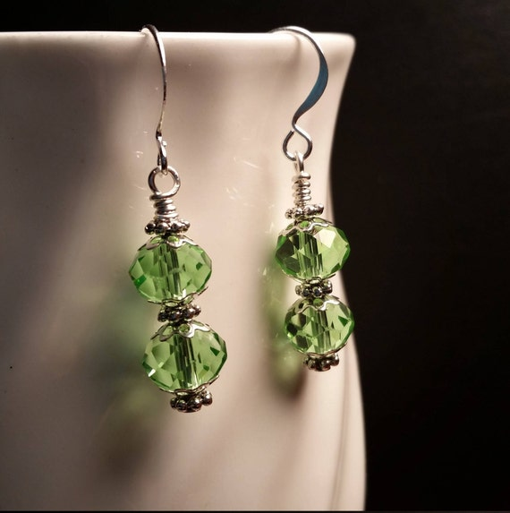 Light Green Crystal Glass Bead Drop Dangle Earrings