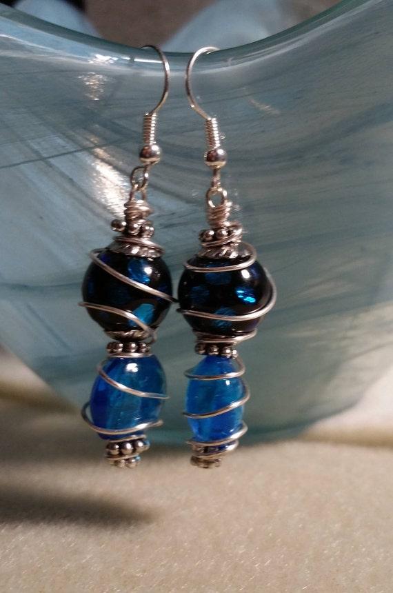 Wrapped Blue Dangle Earrings