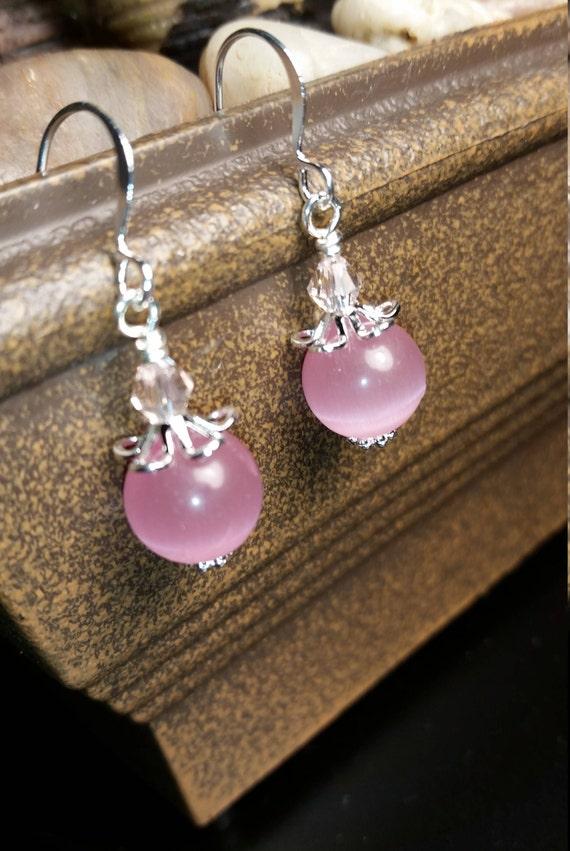 Pink Glass Bead and Light Pink Crystal Glass Drop Dangle Silver Wire Earrings