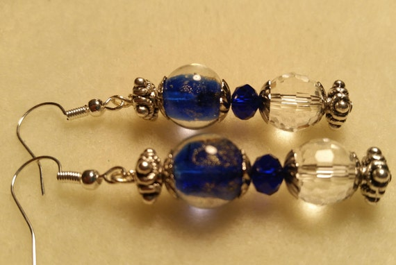 Royal Blue and Crystal Clear Dangle Earrings