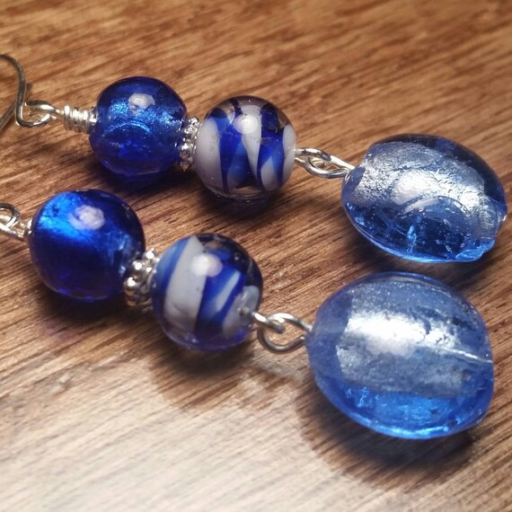Blue with Blue and White swirling Glass Bead Drop Dangle Silver Wire Handmade Earrings