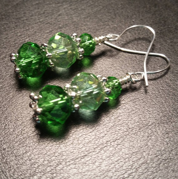 Green Crystal Glass Bead Drop Silver Plated Wire Handmade Dangle Earrings