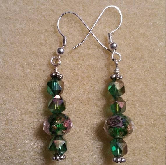 Green Sparkle Dangle Earrings