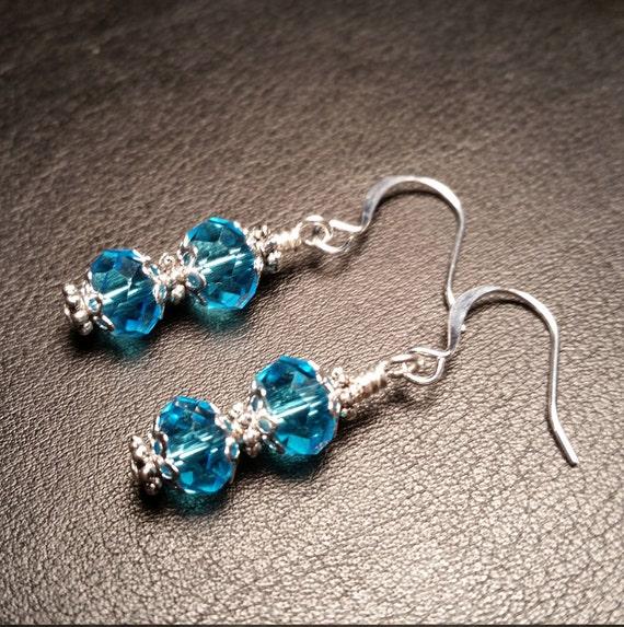 Light Blue Crystal Glass Bead Wire Drop Dangle Earrings