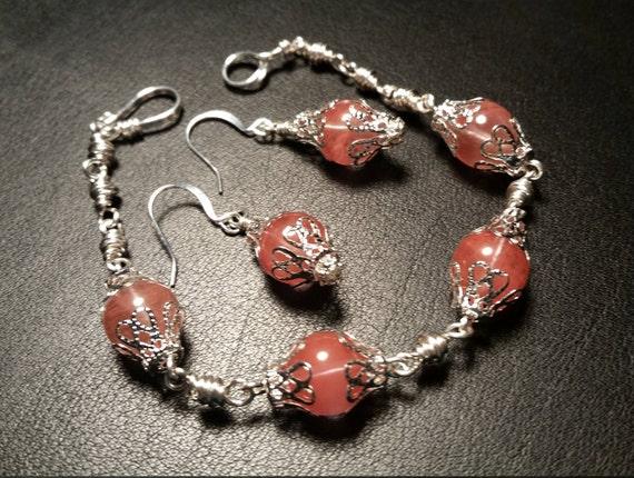 Peach Glass Beads Silver Bracelet and Drop Dangle Earring Set