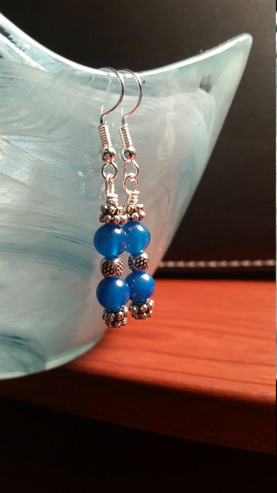 Blue and Silver Drop Dangle Wire Earrings
