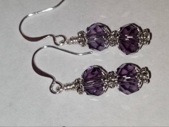 Purple Crystal Glass Bead Drop Dangle Silver Earrings