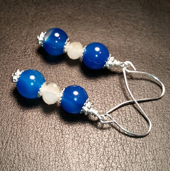 Blue Agate with frosted crystal Handmade Dangle drop silver wire Earrings