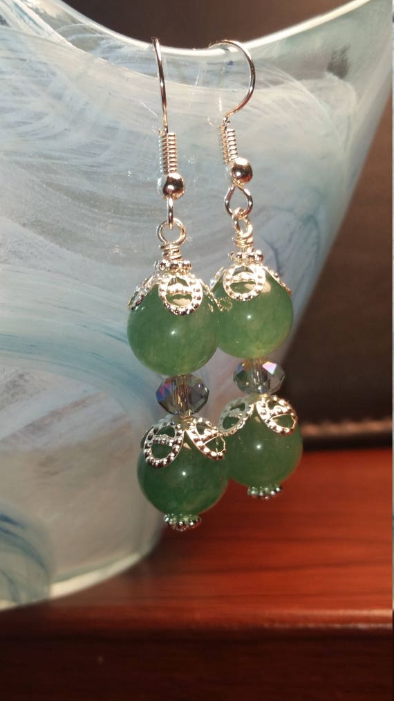 Green glass bead with crystal sparkle drop dangle silver wire Earrings