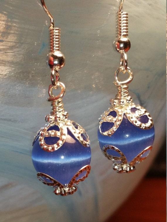 Blue glass bead drop dangle earrings