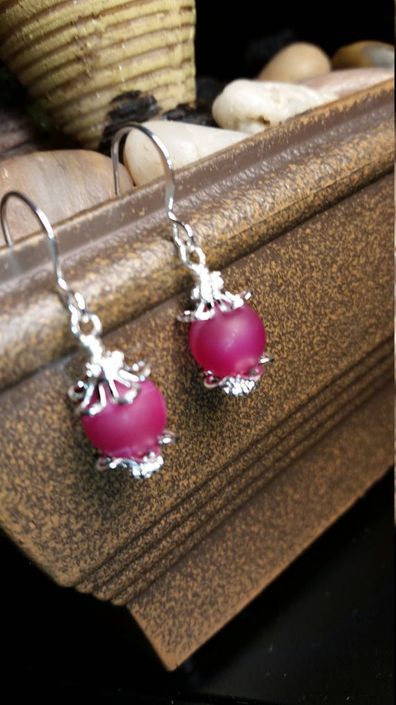 Pink Natural Stone Drop Dangle Silver Wire Earrings