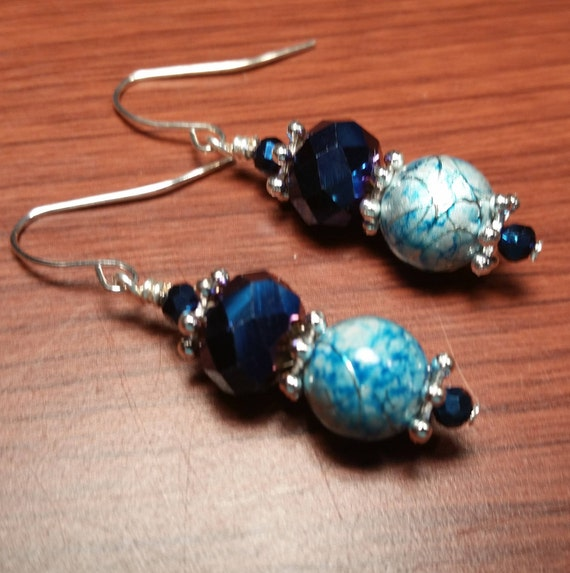 Navy Blue AB Rainbow Crystals with Blue Swirly Glass Bead Drop Dangle Handmade Silver Plated Wire Earrings