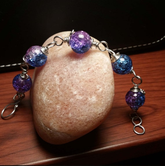 Purple and Blue Crackle Glass Bracelet
