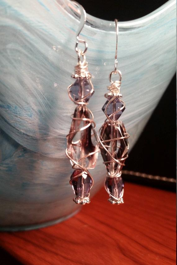Purple Glass Bead Wire Wrapped Drop Dangle Silver Earring
