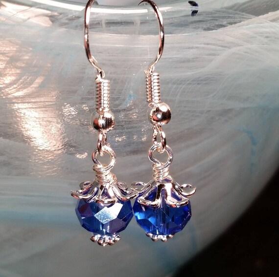 Blue Crystal Rondelle Drop Dangle Silver Wire Earrings