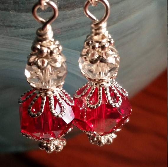 Red Sparkling Dangle Crystal Glass Drop Wire Earrings